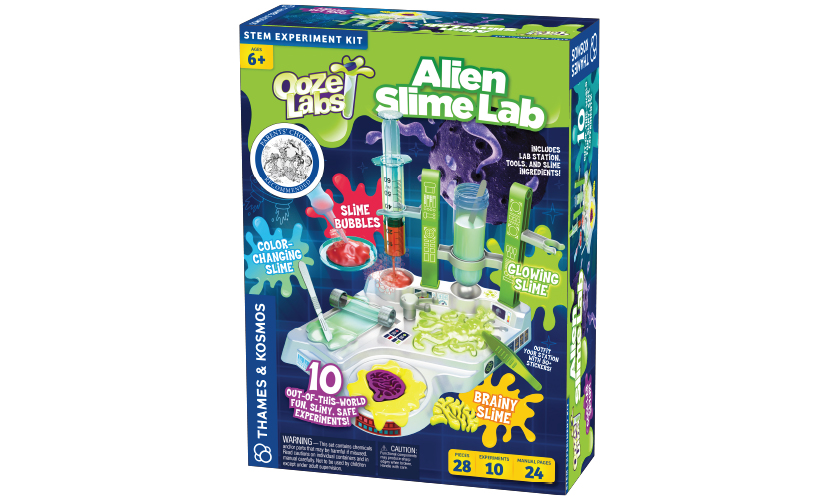 "Ooze Labs: Alien Slime Lab: As lead chemist in your very own out-of-this-world laboratory, it's your job to identify UFOs — Unidentified Funky Oozes! Set up and use your lab station — separately or as an extension of the Ooze Labs Chemistry Station (a Parents' Choice Silver Honor winner!) — to mix up batches of unidentified ""alien"" slime and conduct tests on them to analyze and investigate their special properties."