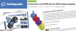 TECHREPUBLIC'S TECH/STEM GIFT GUIDE INCLUDES CODEGAMER