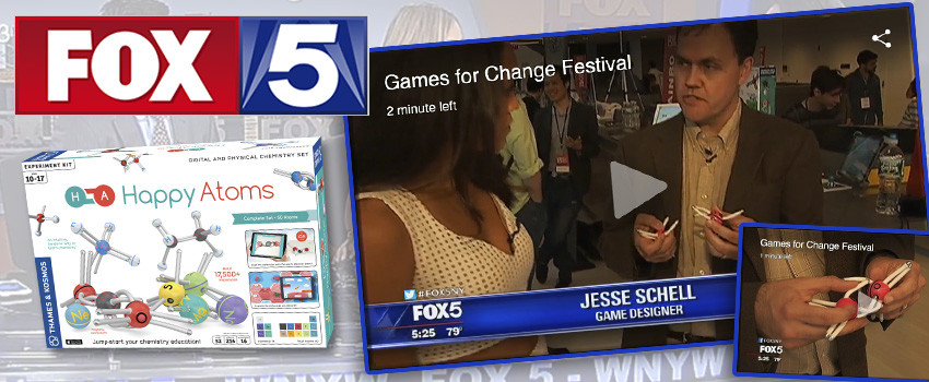 Happy Atoms in Fox 5's coverage of the Games for Change Festival