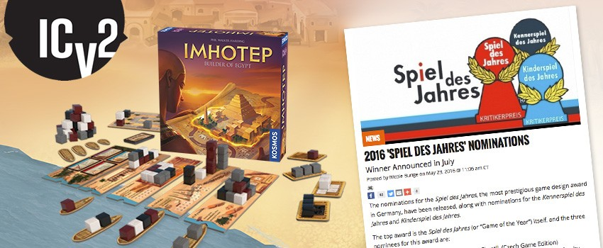 ICv2 covers the 2016 Spiel des Jahres nominees, including Imhotep